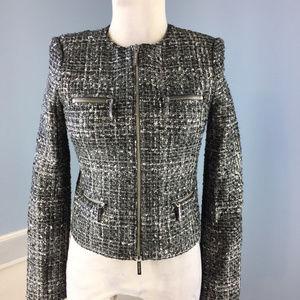 Michael Kors Gray Black Tweed Exposed Zip Blazer 0